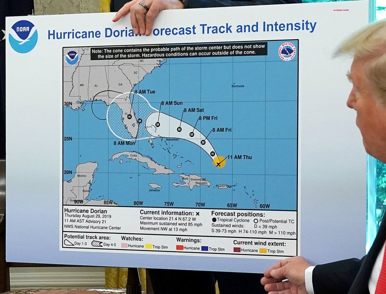 hurricane dorian altered map
