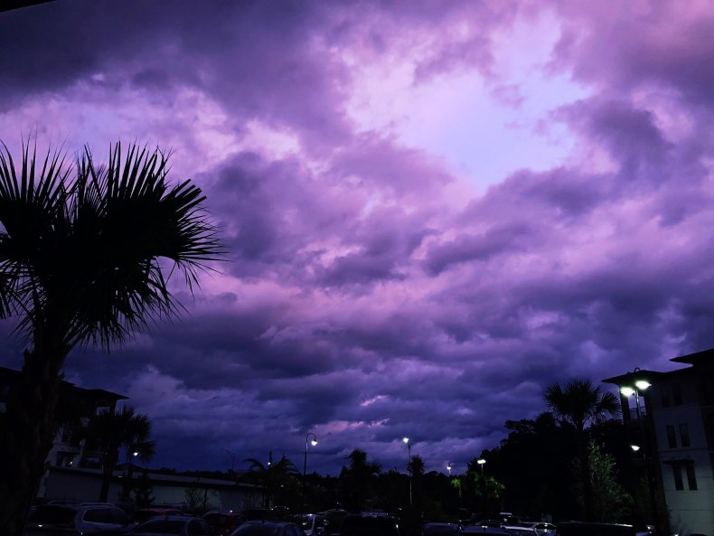 Hurricane Dorian, purple skies, Florida