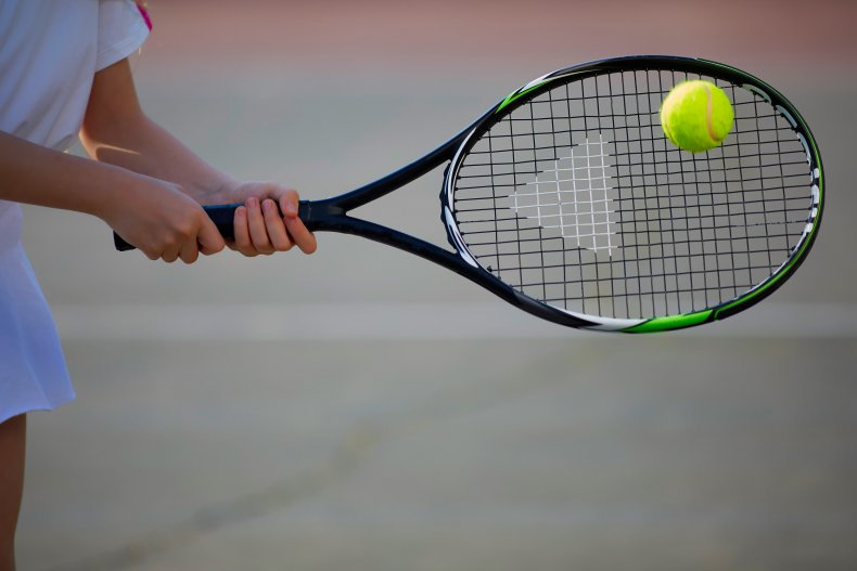 girls' tennis stock photo