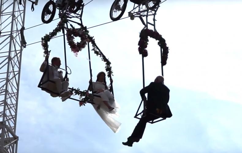 anna traber tightrope highwire wedding