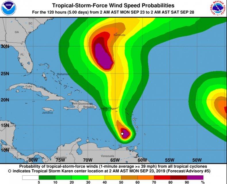 tropical storm karen path spaghetti models
