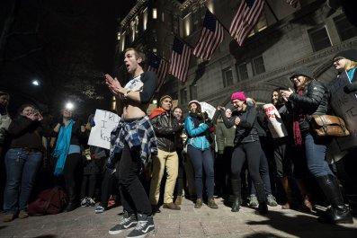 Man dancing at protest