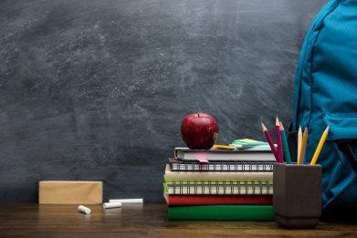blackboard and associated school items