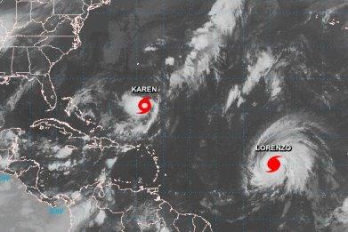 tropical storm karen hurricane lorenzo path