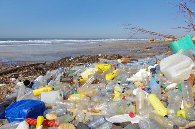 Plastic bottles on a beach in France