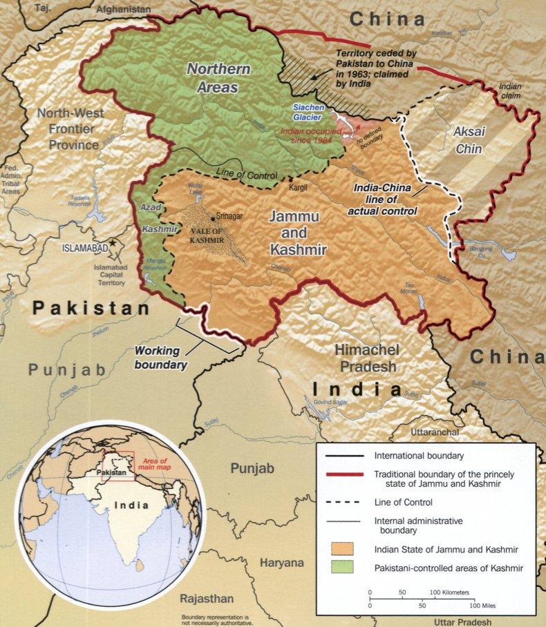 india pakistan china kashmir border map