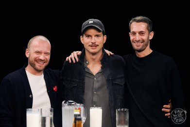 Ashton Kutcher, Sean Evans and Chris Schonberger