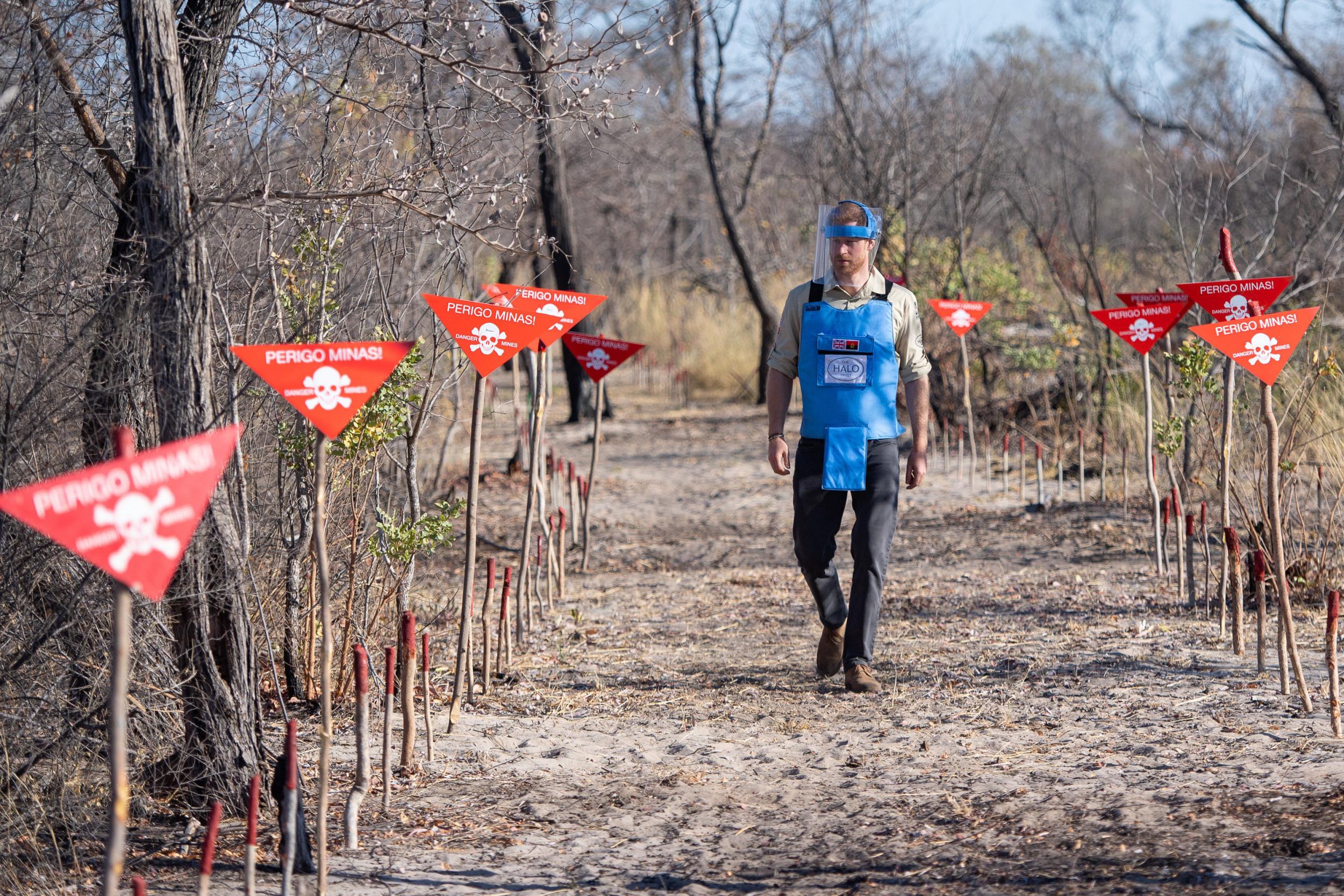 Harry walks through Angola minefield 22 years after Diana