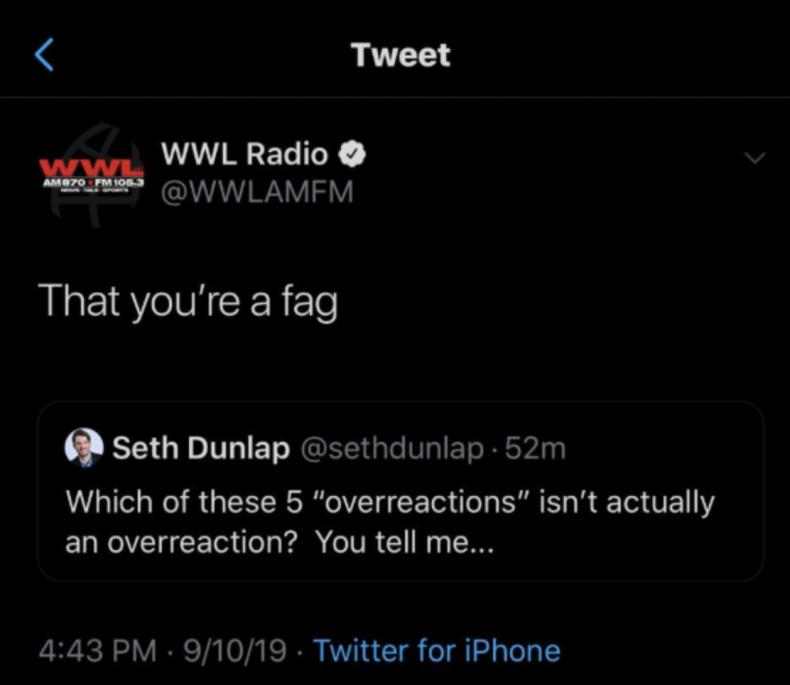 seth dunlap tweet WWL