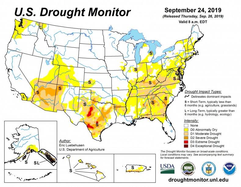 drought monitor, weather, southeastern U.S.