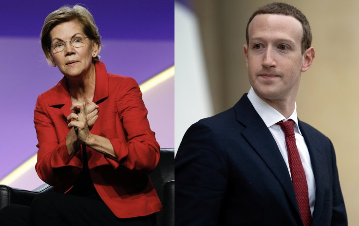Sen Elizabeth Warren and Zuckerberg