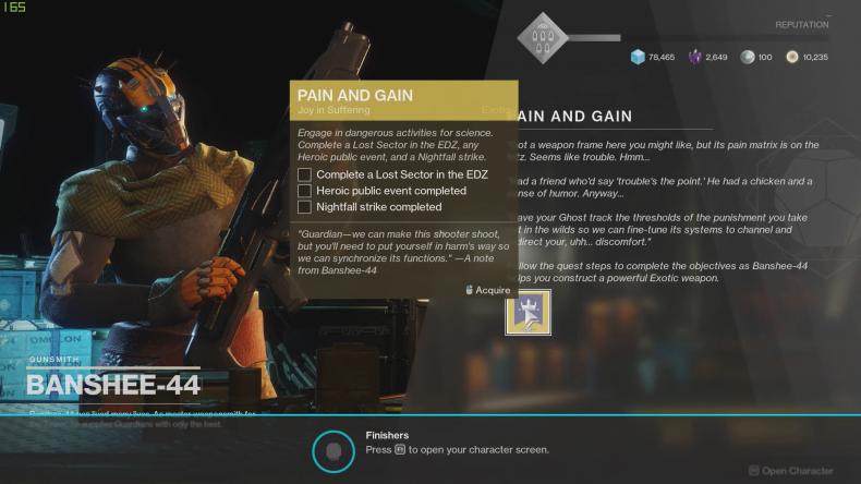 destiny 2 shadow keep pain gain quest