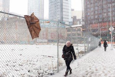 Pedestrian Battles Snow