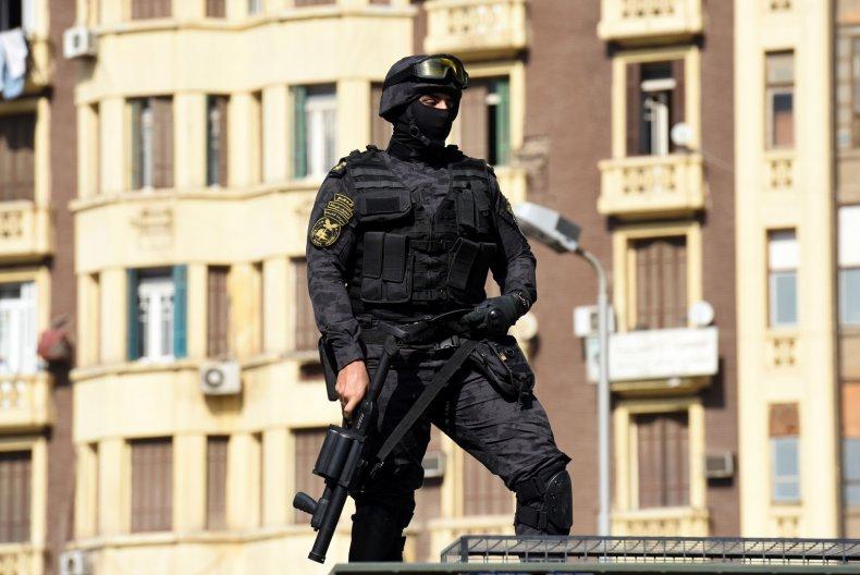 An Egyptian riot policeman