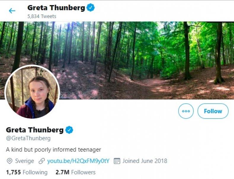 Greta Thunberg Twitter bio