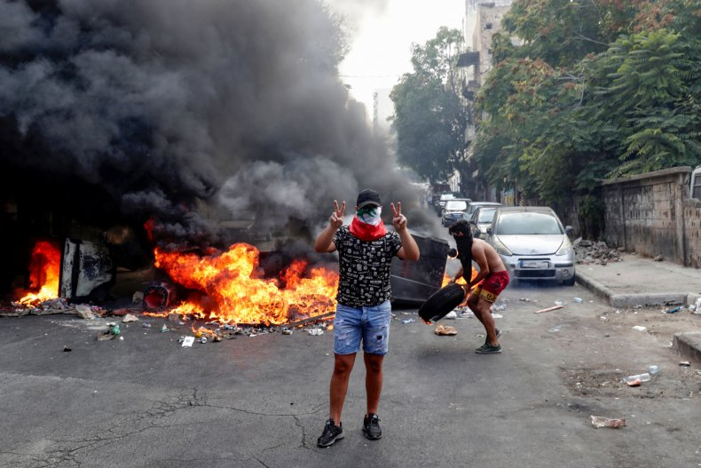 lebanon beirut protests fire demonstrations