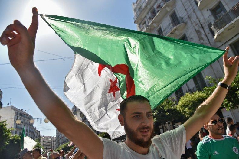 algeria algiers flag protest demonstration