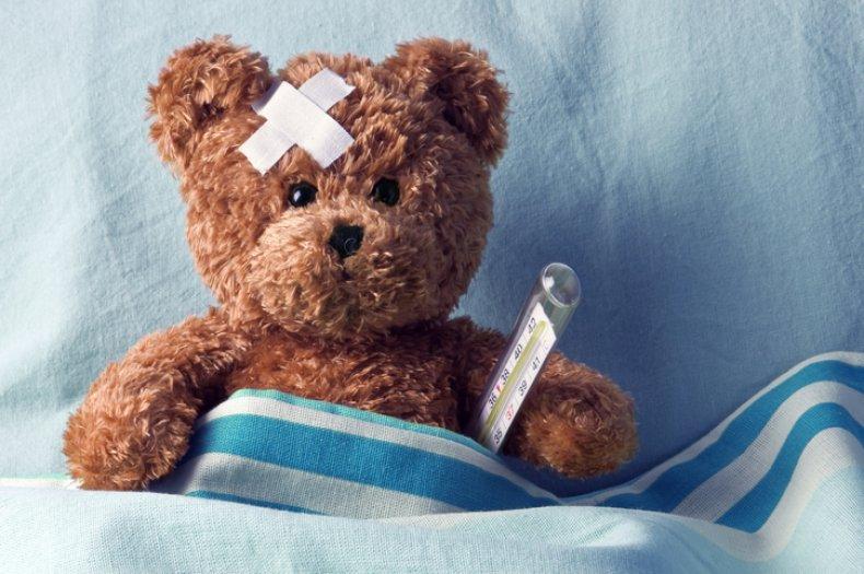 Teddy bear with bandage on head