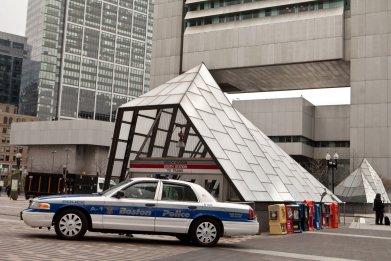 Boston police cruiser at South Station
