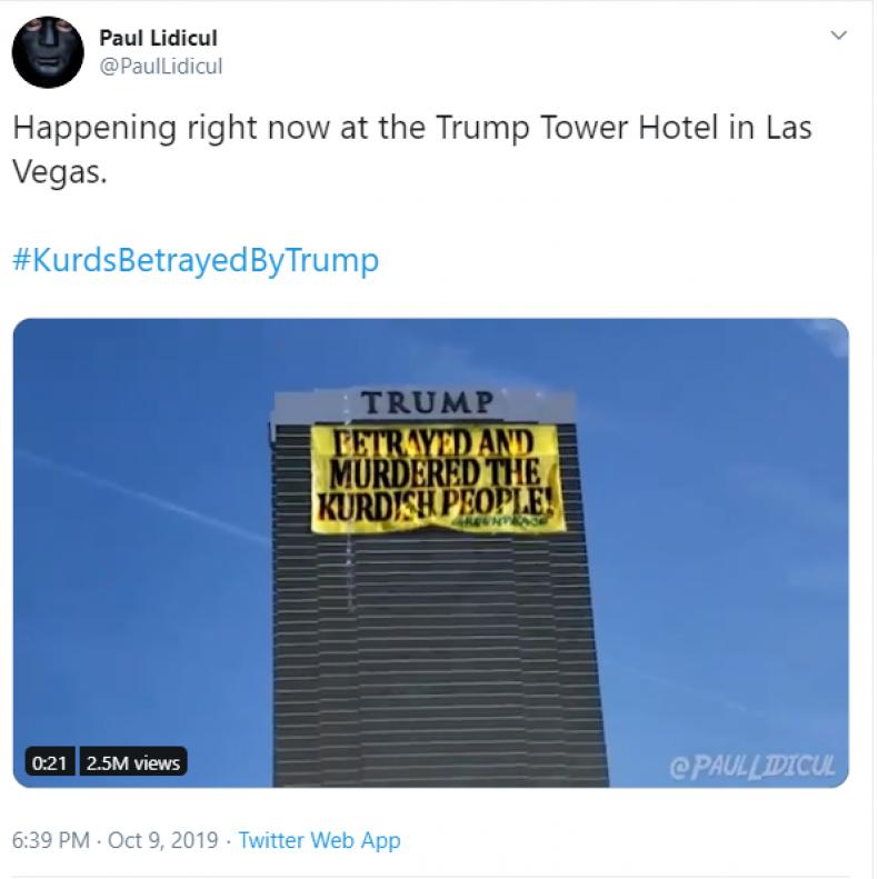 Fake news tweet of Trump Tower banner