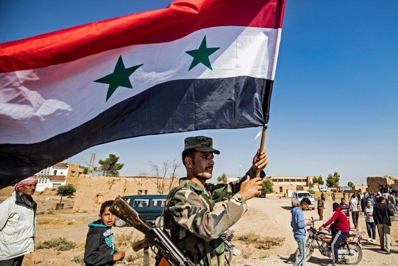 Syrian soldier flag