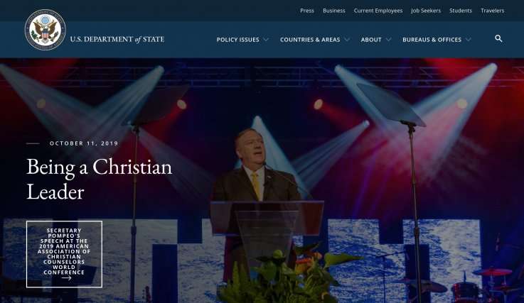 State Department's Promotion of 'Being a Christian Leader' on Website Criticized For Potential Violation of Constitution