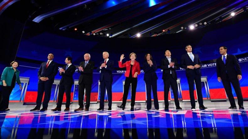 Democratic Debate Candidates Elizabeth Warren Joe Biden