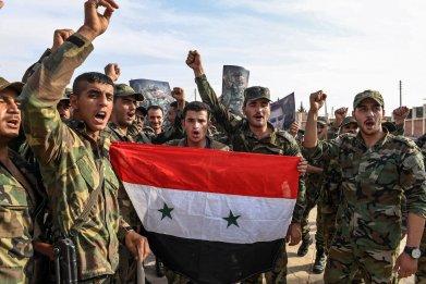 syria military manbij bashar assad flag