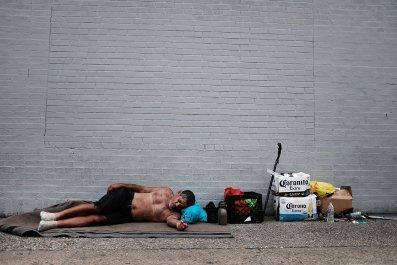 Man Sleeps in Philadelphia Heroin Hub