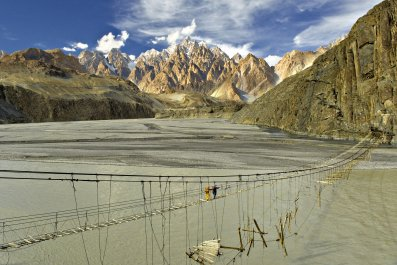 Hussaini Suspension Bridge in Hunza, Pakistan