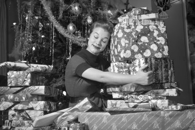 woman christmas tree presents gifs
