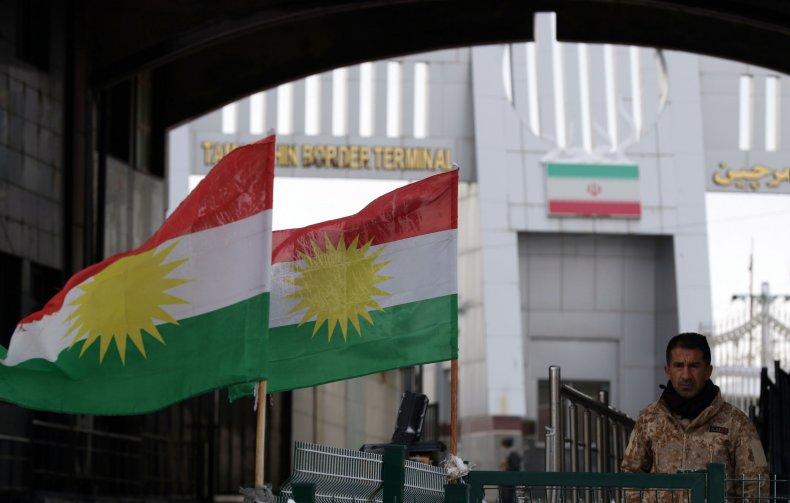 iraq kurd iran border crossing flags