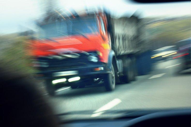 blurry semi truck