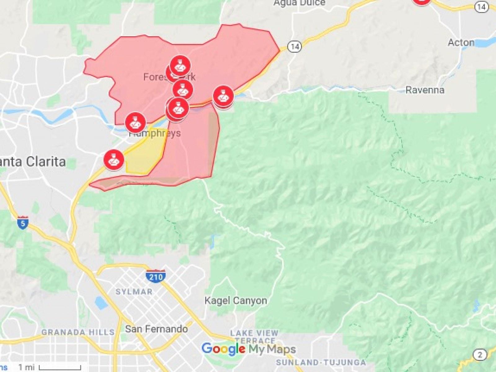 Santa Clarita Fire Map California Wildfire Evacuation Map: Tick, Kincade, Old Water Fires