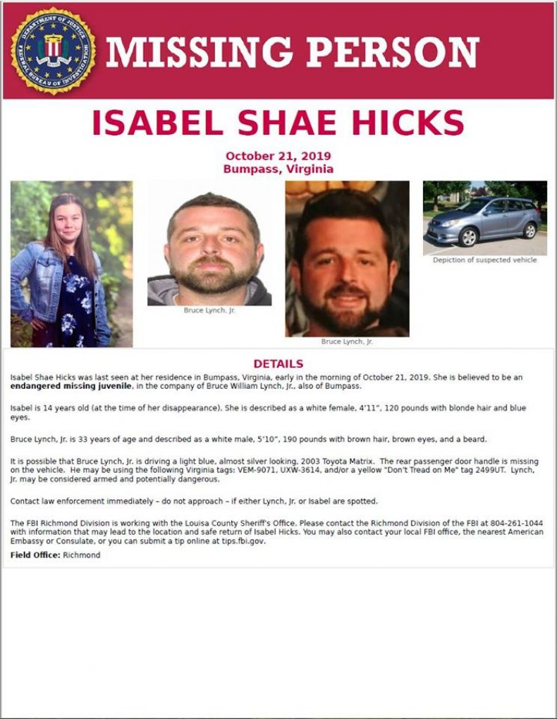 Amber Alert Issued for Isabel Hicks