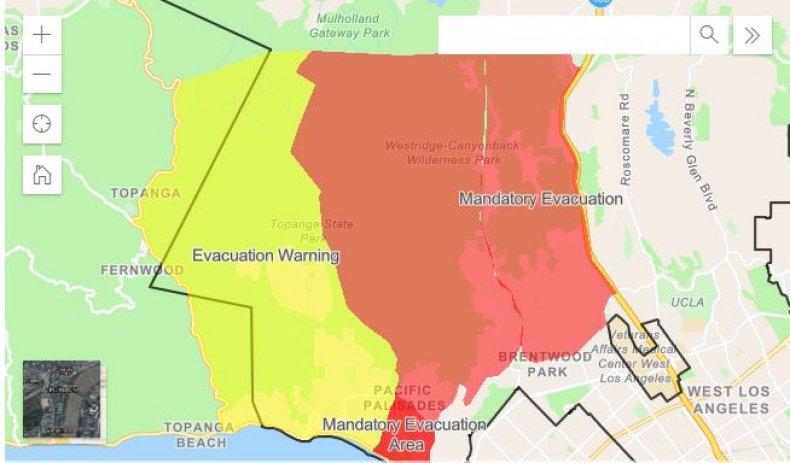 getty fire evacuation map order california