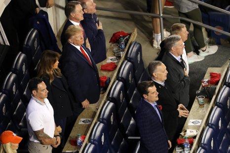 Trump at baseball game where he isbooed