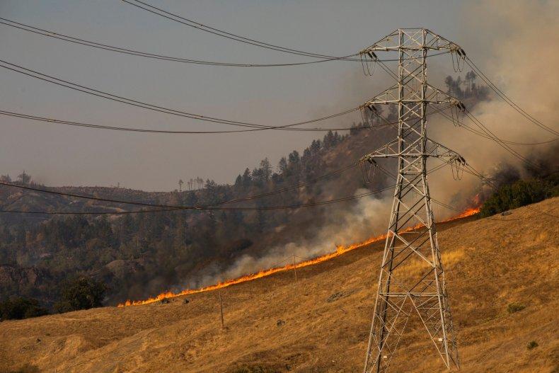 Kincade Fire PG&E power lines
