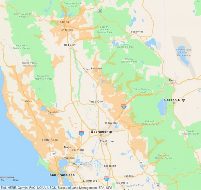 PG&E Power Outage map