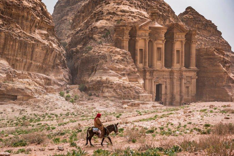 Man on camel in Petra, Jordan