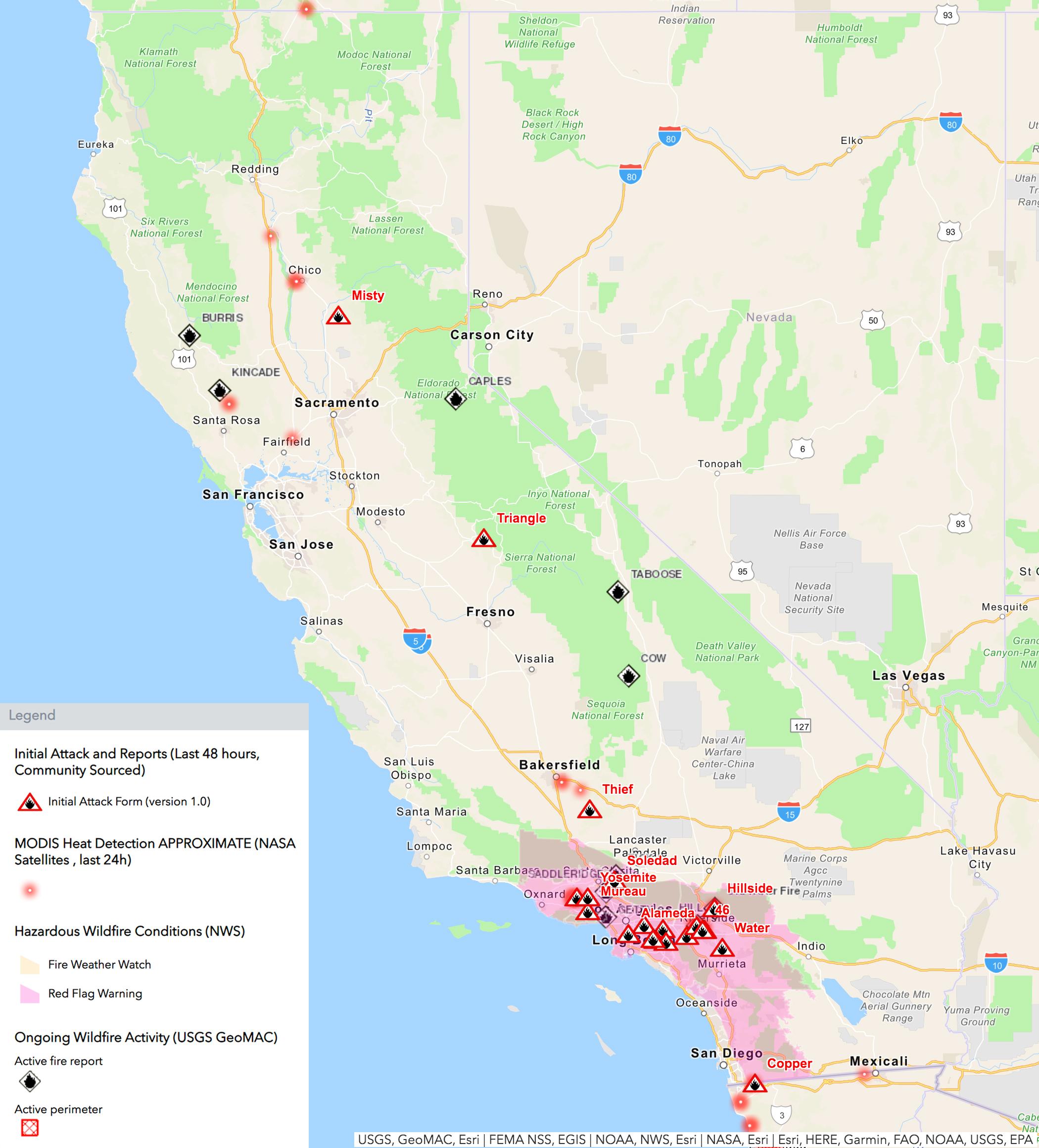 California Active Fire Map California Fire Map: Easy Fire, Getty Fire, Hill Fire, Fullerton