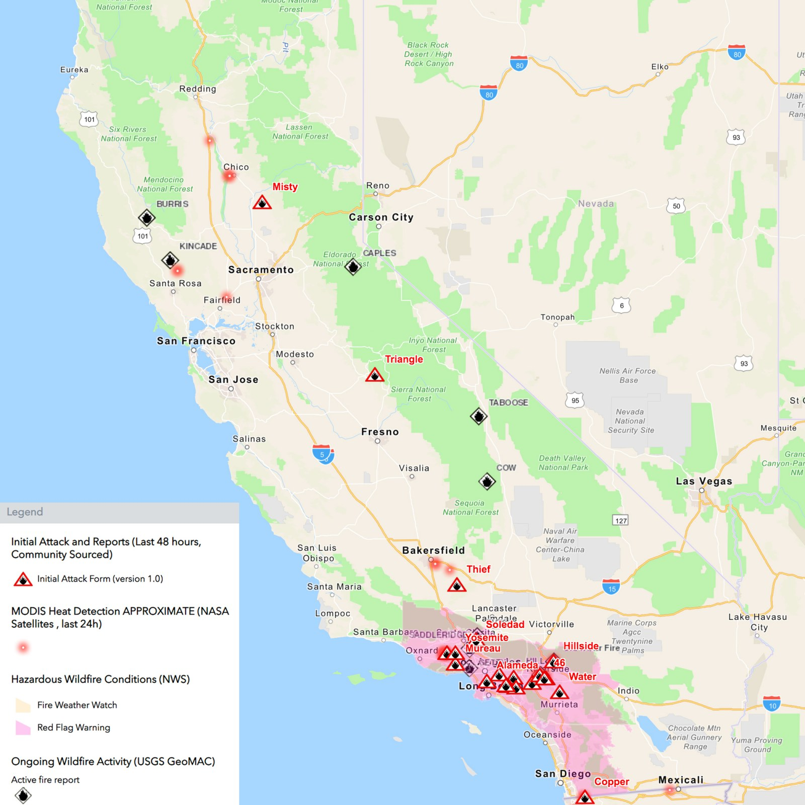 California Fire Map Easy Fire Getty Fire Hill Fire Fullerton Fire Riverside Fire Kincade Fire Update As State Battles 10 Active Blazes