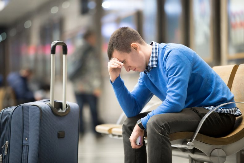 Upset man at airport