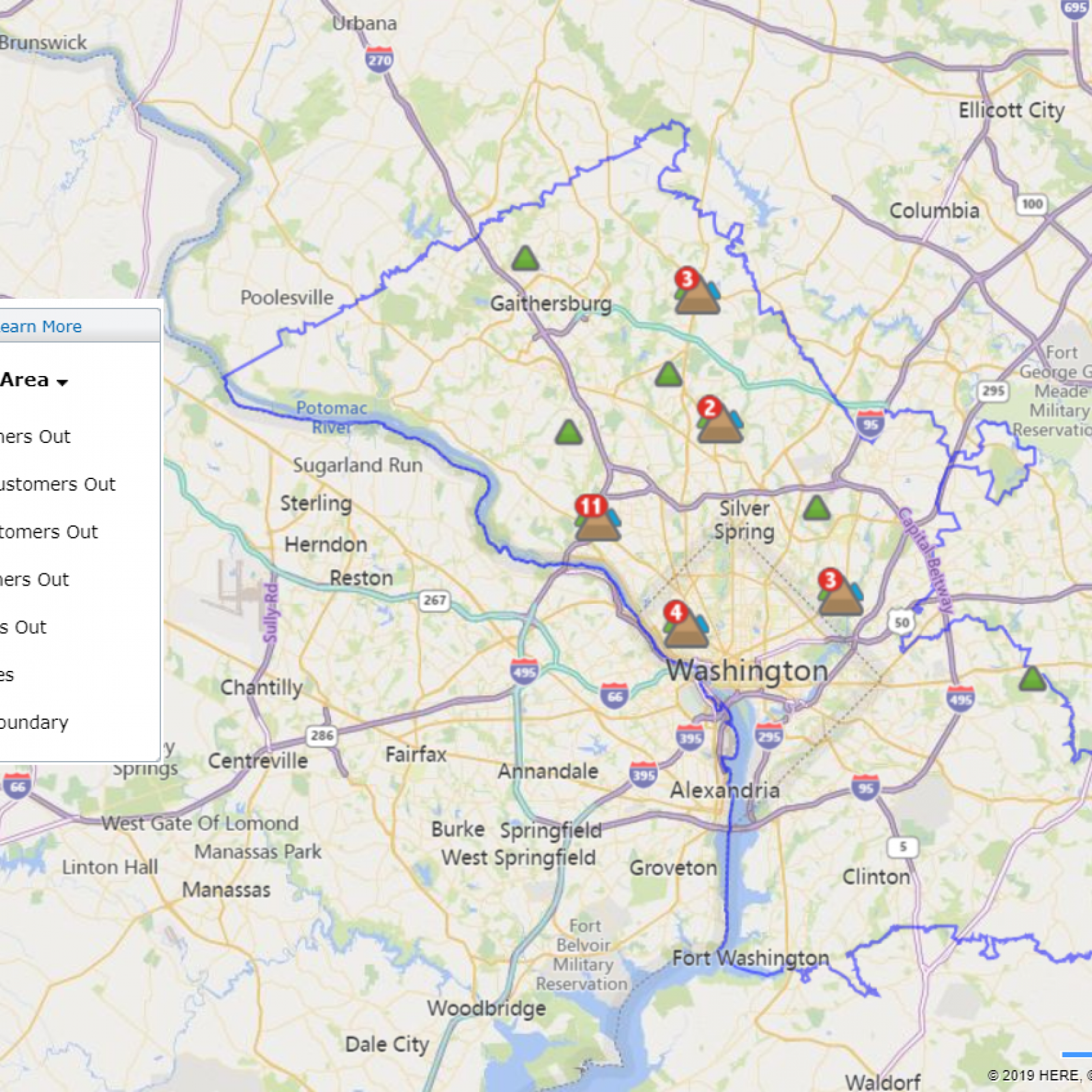 Dominion, Pepco Power Outage Maps: Halloween Storm Leaves ... on state area map, city of chicago area map, mall of america area map, south lake tahoe area map, sebring fl area map, travel area map, san francisco bay area city map, harrisburg area map, la area map, tri county area map, calgary area map, pennsylvania area map, shopping area map, michigan city area map, aaa area map, rogersville shale area map, ferguson mo area map, new smyrna beach area map, district of columbia area map, no va map,