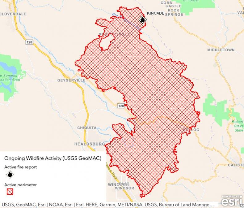 Kincade fire map