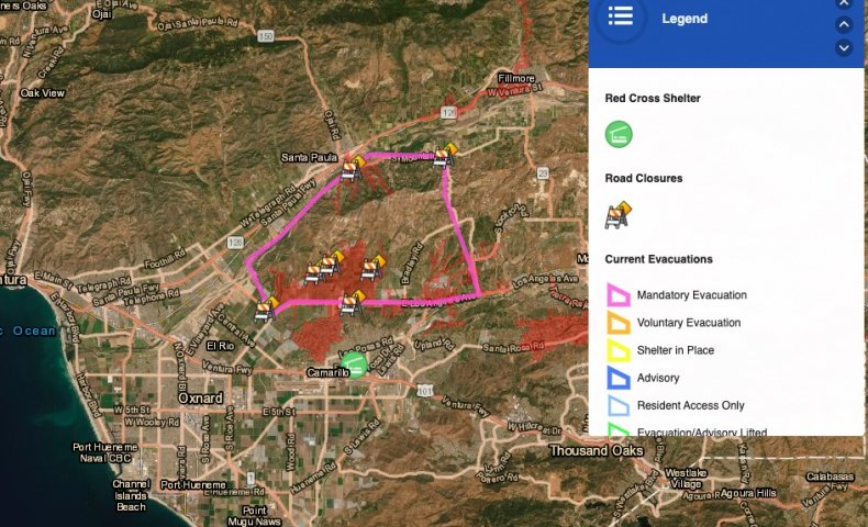 maria fire evacuation map ventura county