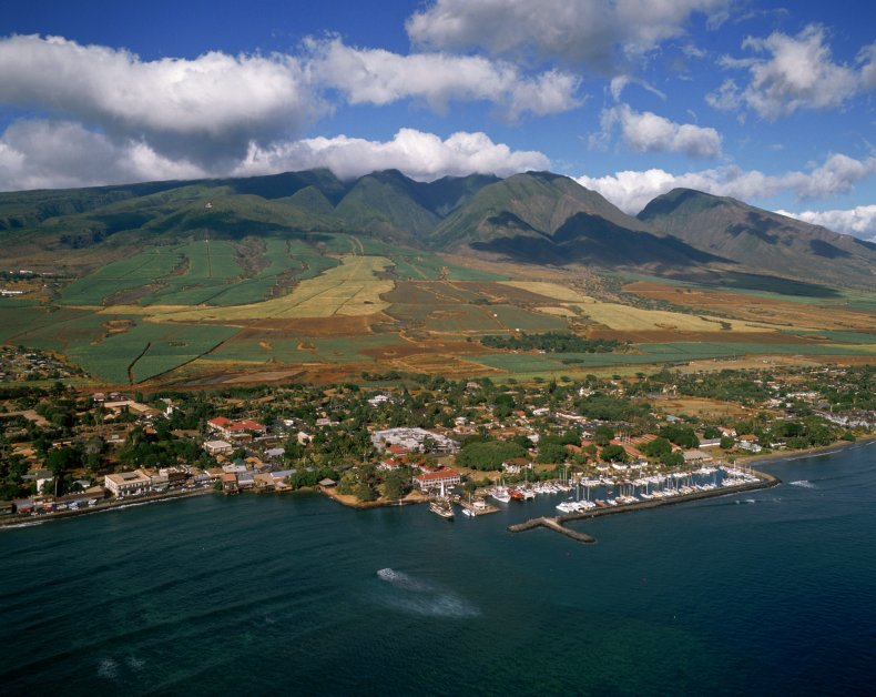Aerial View of Lahaina on the Coast of Maui