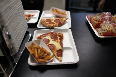 School Meal of Pizza and Fries
