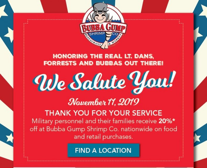 bubba gump veterans day