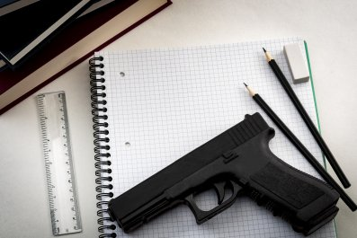 school supplies and gun
